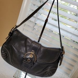 Coach Soho Black Leather flap bag